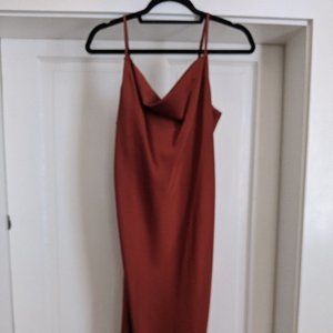 Burnt orange midi slip dress